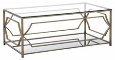 Topped with clear glass--perfect for showing off your favorite accents underneath--this coffee table's sculptural steel frame manages to lend a sense of structure while still feeling light and...