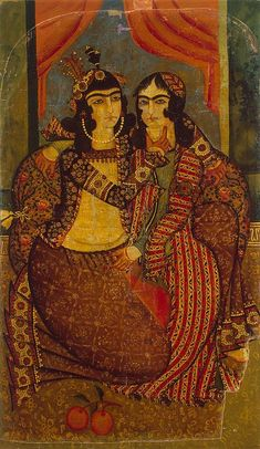 Amorous Couple Painting, Oil on canvas, cm Origin: Iran, Early century, Qajar Dynasty Islamic World, Islamic Art, Qajar Dynasty, Oriental, Couple Painting, Art Asiatique, Iranian Art, Patterned Carpet, Ancient Art