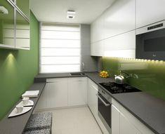 Loving the small breakfast bar Small Galley Kitchens, Narrow Kitchen, Compact Kitchen, Home Kitchens, Kitchen Dining, Kitchen Decor, Kitchen Room Design, Kitchen Layout, Kitchen Interior