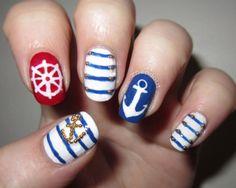 Anchor sailor manicure nail design