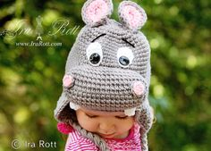 Handmade Crochet Hippopotamus Hat for Babies, Kids and Adults