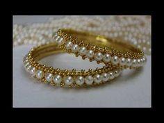 How to make Pearl Bangles: DIY! Silk Thread Bangles Design, Silk Thread Earrings, Gold Bangles Design, Beaded Anklets, Beaded Jewelry, Handmade Jewelry, Beaded Bracelets, Stone Jewelry, Pearl Jewelry