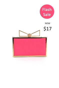 """Flash Sale! """"Crown Bow"""" Pink with Gold Detailed Clutch  Shop yours!  ➡ https://levixen.com/CROWN-BOW-NEON-PINK.html  #LeVixen #womensfashion #accessories #bags #clutch #crown #bow #pink #gold #ootd #fashion #style #flashsale #sale #humpday"""
