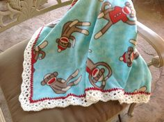 Monkey Nursery Blanket, Fleece Blanket, Crocheted Blanket, Baby Blanket by Lorettescottage on Etsy
