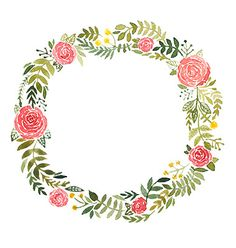 Watercolor wreath with roses and leaves vector by Tatishdesign on VectorStock®