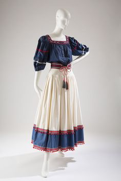 Saint Laurent Rive Gauche ensemble, red, white, and blue cotton, 1977, France, 81.218.4, gift of Mrs. James Levy