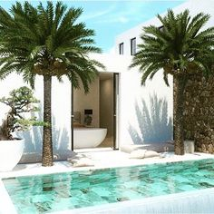 Pool and palm trees Small Backyard Pools, Small Pools, Swimming Pools Backyard, Pool Landscaping, Outdoor Spaces, Outdoor Living, Dream Pools, Swimming Pool Designs, Cool Pools