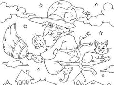 A witch flying across the sky on Halloween. Halloween Coloring Pictures, Free Halloween Coloring Pages, Witch Coloring Pages, Pumpkin Coloring Pages, Cat Coloring Page, Adult Coloring Book Pages, Disney Coloring Pages, Halloween Pictures, Coloring Books