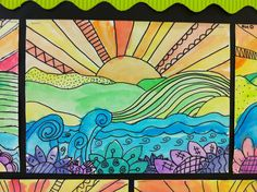 Apex Elementary Art: whimsical landscapes.  warm/cool, line, foreground/middle/background