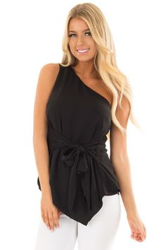 Black One Shoulder Top with Waist Tie - Lime Lush Boutique Black One  Shoulder Top 6591351db42