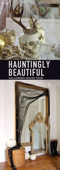 Halloween decorations can be hauntingly beautiful with the right amount of creepy accents. This house tour includes a ton of Halloween DIY craft tutorials. Creepy Halloween Decorations, Creepy Halloween Costumes, Easy Halloween, Halloween Themes, Halloween Crafts, Halloween Horror, Halloween School Treats, Halloween Party Supplies, Halloween Activities
