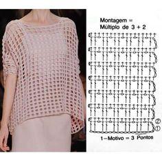 Crochet Diagram, Crochet Chart, Crochet Motif, Crochet Lace, Crochet T Shirts, Crochet Cardigan, Crochet Clothes, Tops Tejidos A Crochet, Hippie Crochet