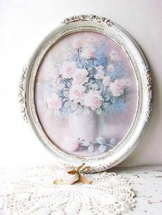 Framed Shabby Pink Roses * White Distressed Frame * Pastel Blush Pink Roses * Shabby Cottage Chic Frame * 18 x15