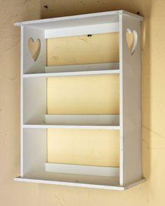 Wandregal Mit Herz 12013 Regal 50cm Vintage Shabby Landhaus Küchenregal  Weiß: Amazon.de: