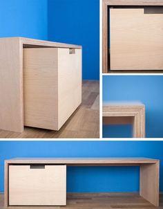 Plywood Table, Plywood Furniture, Diy Furniture, Furniture Design, Living Furniture, Plywood Design, Deco Studio, Hallway Inspiration, Attic Rooms