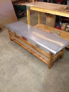 Truck toolbox turned into a storage bench!  http://www.weatherguard.com/