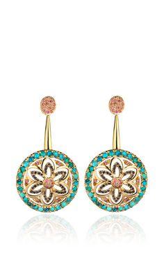 Madhuri Parson One Of A Kind Turquoise, Tourmaline And Sapphires Chandelier Earrings by Madhuri Parson - Moda Operandi