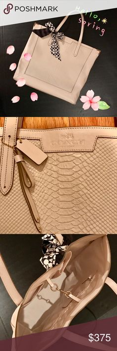 """Coach Tote Ivory snakeskin patterned tote. Gold tipped corners at top. Logo on front, hang tag, and one lower side. Closure is a spring-load connected hook that keeps your precious cargo in check. Roomy interior with 1 large zip pocket and 2 slip pockets. Slight normal leather creasing, some wear on handles (dirt only). Will post those pics soon. Strap drop 7.5"""". Coach Bags Totes"""