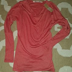New! Michael Stars top Drape Neck with split sleeves Heart shine red One size o/s New with tag * third pic is to show fit ignore the color Michael Stars Tops Blouses