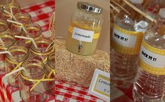 Every barnyard bash needs some fresh lemonade.  A red and white checked tablecloth was the perfect starting point.  I have been looking for an opportunity to use mason jars for a party and this was a great opportunity!  We used brightly colored ribbons and papers as accents.  To bring in a slightly vintage feel, I added a simple frame with a Lemonade 5 cents sign.