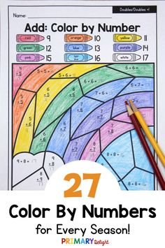 Color by Number for Every Season Math Stations, Math Centers, Math Classroom, Kindergarten Math, Addition And Subtraction, Addition Facts, Teaching Subtraction, Subitizing, Number Worksheets