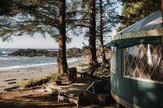 Experience the rugged, natural beauty of the west coast while staying in comfort in our eco resort Yurt. Our waterfront Yurts offer the charm of camping without the need for all of the gear. Lodges, British Columbia, West Coast, Wilderness, Natural Beauty, Tourism, To Go, Patio, Adventure