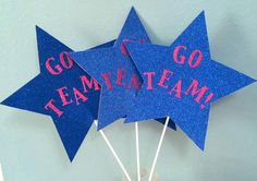 Choose colors! Cheer Go Team 3 XL glitter star toppers wands for football games nights birthday party favor table centerpiece ground decor banquet decor team player cheerleader basketball softball volleyball soccer band school mascot homecoming teacher
