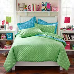 id COLORS Blue and Green Dots 2-Piece Comforter Set