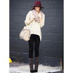 Easy weekend wear - burgandy & leg warmers