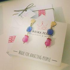 Blue & Pink, pendientes Lolita Vintage #earrings #handmade #piedranatural #instamood #love #style #details #eshop #tiendaonline #lolita #vintage www.byneskapolita.com