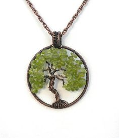 Antique Copper Tree of Life August Birthstone Jewelry Green $40.00 #etsypendant #greenpendant #copperjewelry #treeoflife #aperfectgem