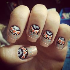 Tribal nails, Aztec print nail art.  Dots #dotticure. Great color combination and design!
