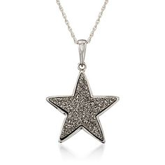 Silver Drusy Star Pendant Necklace in Sterling Silver