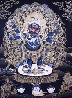 Mahakala Shadbhuja. Mahakala is the wrathful protector of the dharma in Tibetan Buddhism. His crown of skulls representing the transmutation of the 5 kleshas (negative afflictions) into the 5 wisdoms