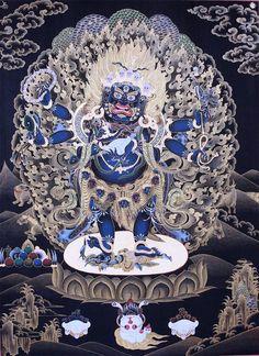 Mahakala Shadbhuja. Mahakala is the wrathful protector of the dharma in Tibetan Buddhism. His crown of skulls representing the transmutation of the 5 kleshas (negative afflictions) into the 5 wisdoms