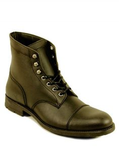 Vegan Vegetarian Non-Leather Mens Laceup Boots Black