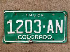 Colorado Truck License Plate 1203AN    #green #CoLicense #CoLicensePlate #VintageColoPlate #VintageColorado #GreenAndWhite #LicensePlate #ColoradoPlate #VintageCoPlate #RockyMountains
