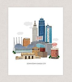 Downtown Kansas City Art Print. A print of my digital collage created with vintage textures. Choose between four sizes, 5x7, 8x10, 11x14, and 11x17. Printed on an archival matte paper. --------------- Prints are placed in cello sleeves for protection and then shipped in a cardboard