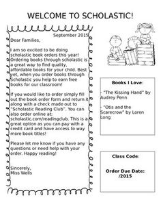 This download includes 2 letters to send home with monthly Scholastic reading club book orders. One is an introductory letter that tells…