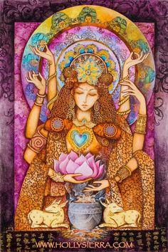 Quan Yin , Goddess of Compassion by Holly Sierra Buddhist Traditions, Arte Obscura, Acrylic Artwork, Goddess Art, Earth Goddess, Third Eye, Deities, Fantasy Art, Original Paintings