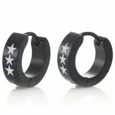 Studded Spikes Mens Punk Stainless Steel Black Hoop Earrings Jewelry Rnbjewellery For Men Pinterest And S Fashion