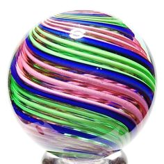 """EDDIE SEESE ART GLASS MARBLES 1-3/4"""" 2-TONE INTRICATED STRIPPED DICHROIC MARBLE #EddieSeese #Contemporary"""