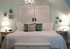 amazing door as headboard unique design with modern bed