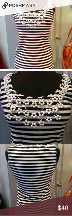 •Kate Spade• Beaded Striped Tank Top In great condition! No beads missing at all. Very stretchy and comfy. kate spade Tops