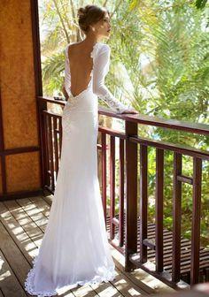 Julie Vino Brautkleider mit Schleppe, rückenfrei, lange Ärmel mit Spitze