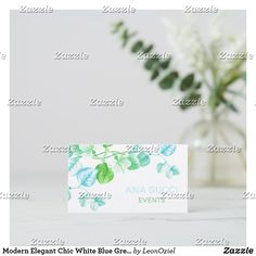 Shop Modern Elegant Chic White Blue Green Soft Floral Business Card created by LeonOziel. Elegant Chic, Day Up, Business Cards, Party Favors, Blue Green, Stationery, Things To Come, Place Card Holders, Floral