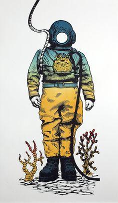 Deep Sea Diver Linograbado original relieve grabado