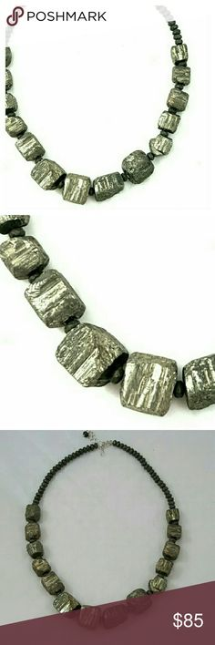 "Handmade Pyrite Nugget Statement Necklace, OOAK Gorgeous show stopping genuine Pyrite gemstone necklace, amazing dressed up for the holidays or a casual Bohemian look on a white tshirt and jeans!!  You can find the perfect matching earrings in my awesome PFF Michelle's closet @gordomom   Genuine Pyrite gemstone Sterling silver closure 18.5"" length with extra 2"" extender Handcrafted in Georgia  One of a kind!!!! Boutique Jewelry Necklaces"