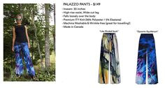 Wearable Art is now available! So here you have it, some gorgeous wearable art made in Montreal, Canada from a few of my. Palazzo Pants, Wearable Art, Tie Dye Skirt, The Originals, How To Make, Stuff To Buy, Fashion, Petite Palazzo Pants, Moda