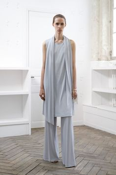 Maison Martin Margiela-more of the dress over pant trend; dusty pale blue jersey
